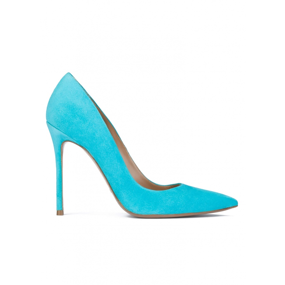 Turquoise suede pointy toe high heel pumps