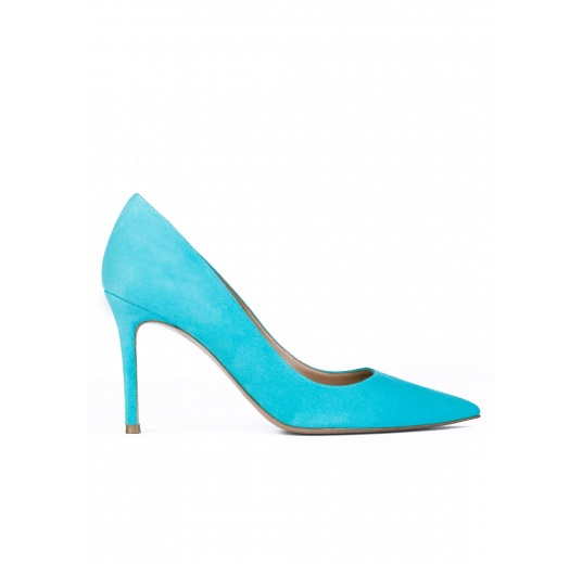 High heel pumps in turquoise suede Pura L�pez