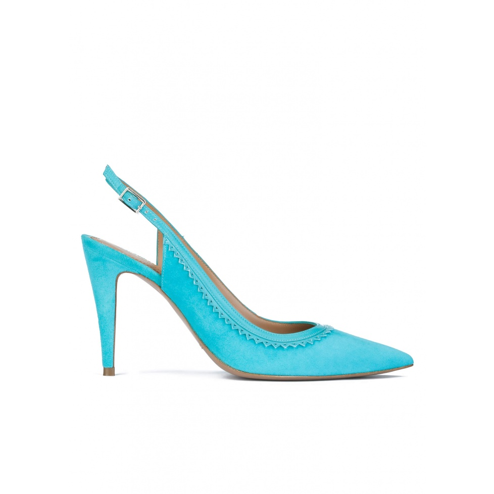 Turquoise suede slingback pumps