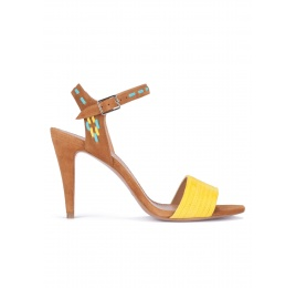 Two-tone suede high heel sandals Pura López