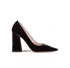 High block heel pumps in grey velvet  Pura López