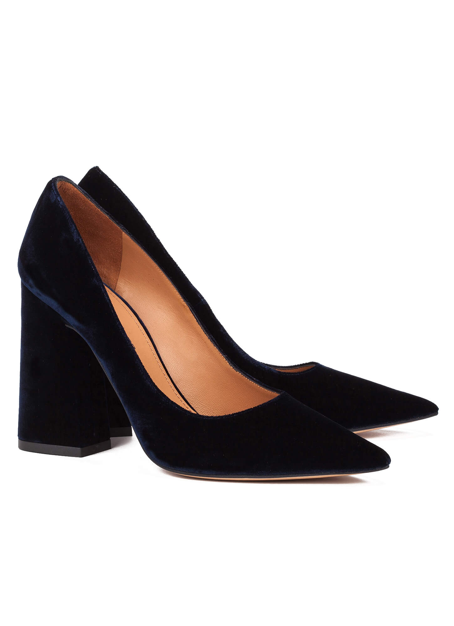 High Block Heel Pumps In Blue Velvet Online Shoe Store