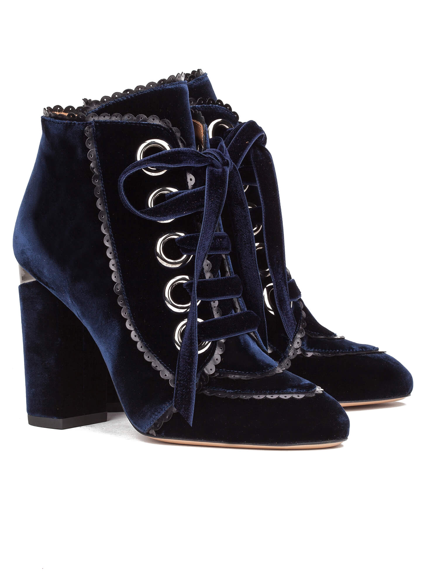 2893f1a184a39 Velvet lace-up heeled ankle boots - online shoe store Pura Lopez ...