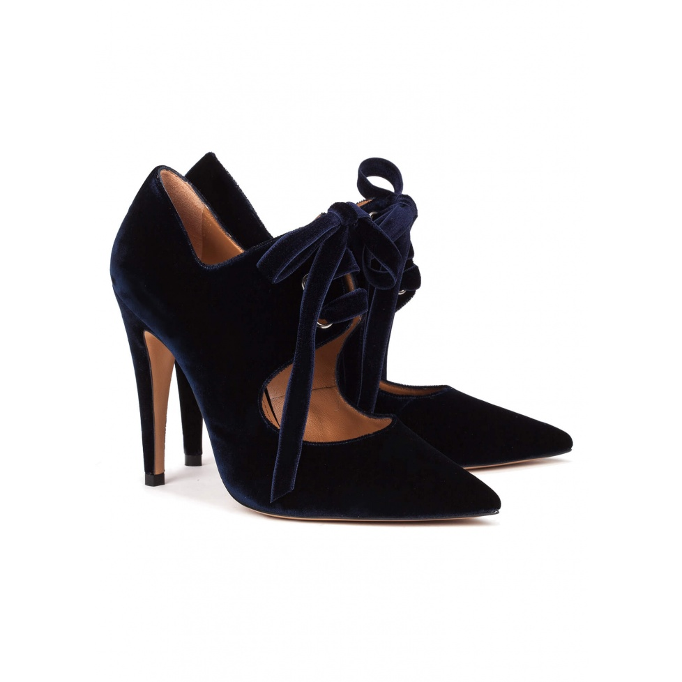 Blue velvet lace-up high heel shoes - online shoe store Pura Lopez