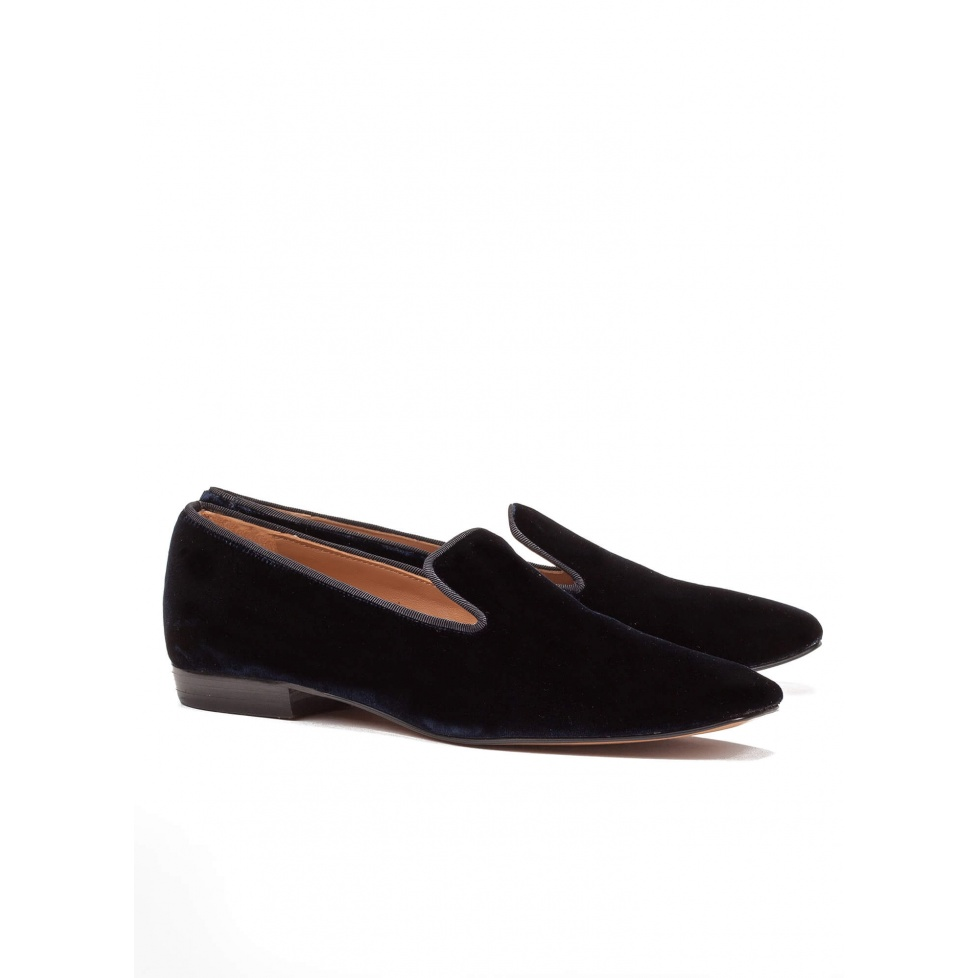 Night blue velvet flat loafers - online shoe store Pura Lopez