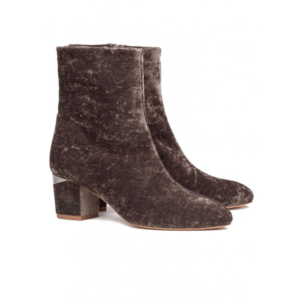 Velvet mid heel ankle boots - online shoe store Pura Lopez