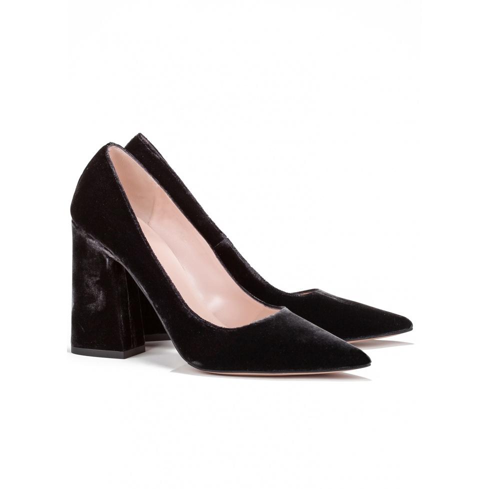 Zapatos de tacón alto en terciopelo - tienda de zapatos Pura López