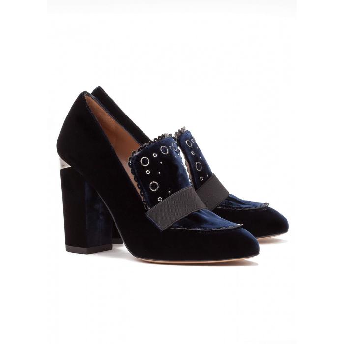 High heel loafers in blue velvet - online shoe store Pura Lopez