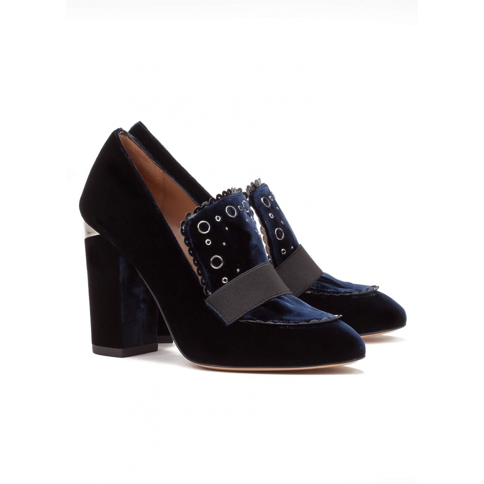 High heel loafers in blue velvet - online shoe store Pura Lopez
