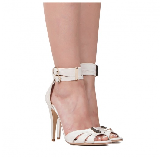 Ankle strap high heel bridal sandals in offwhite satin Pura L�pez