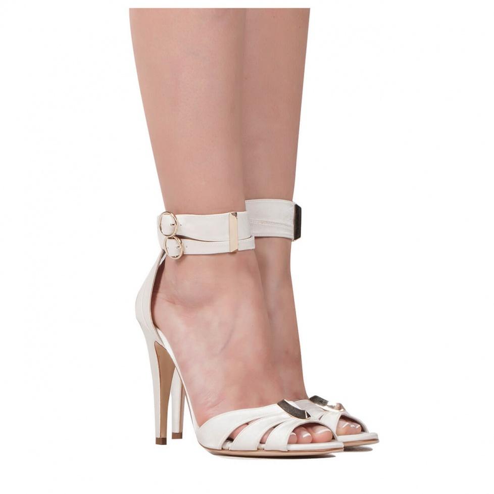 High heel sandals in offwhite satin - online shoe store Pura Lopez