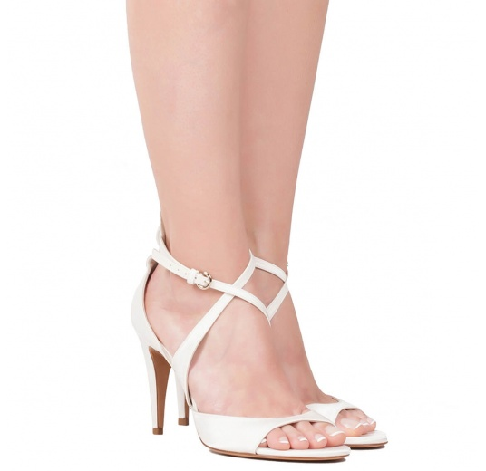 Strappy high heel bridal sandals in offwhite satin Pura L�pez