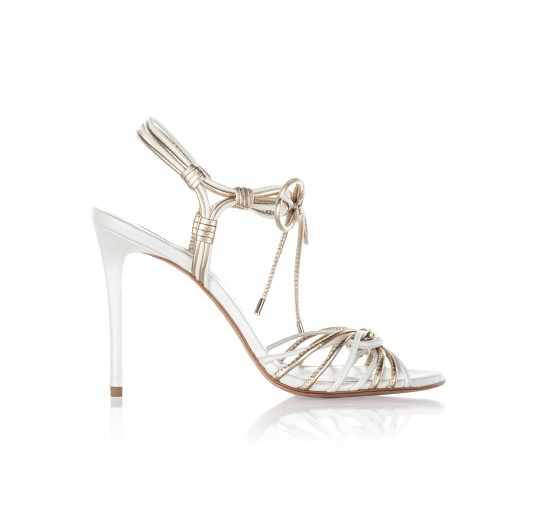 High heel bridal sandals in offwhite and gold leather Pura L�pez