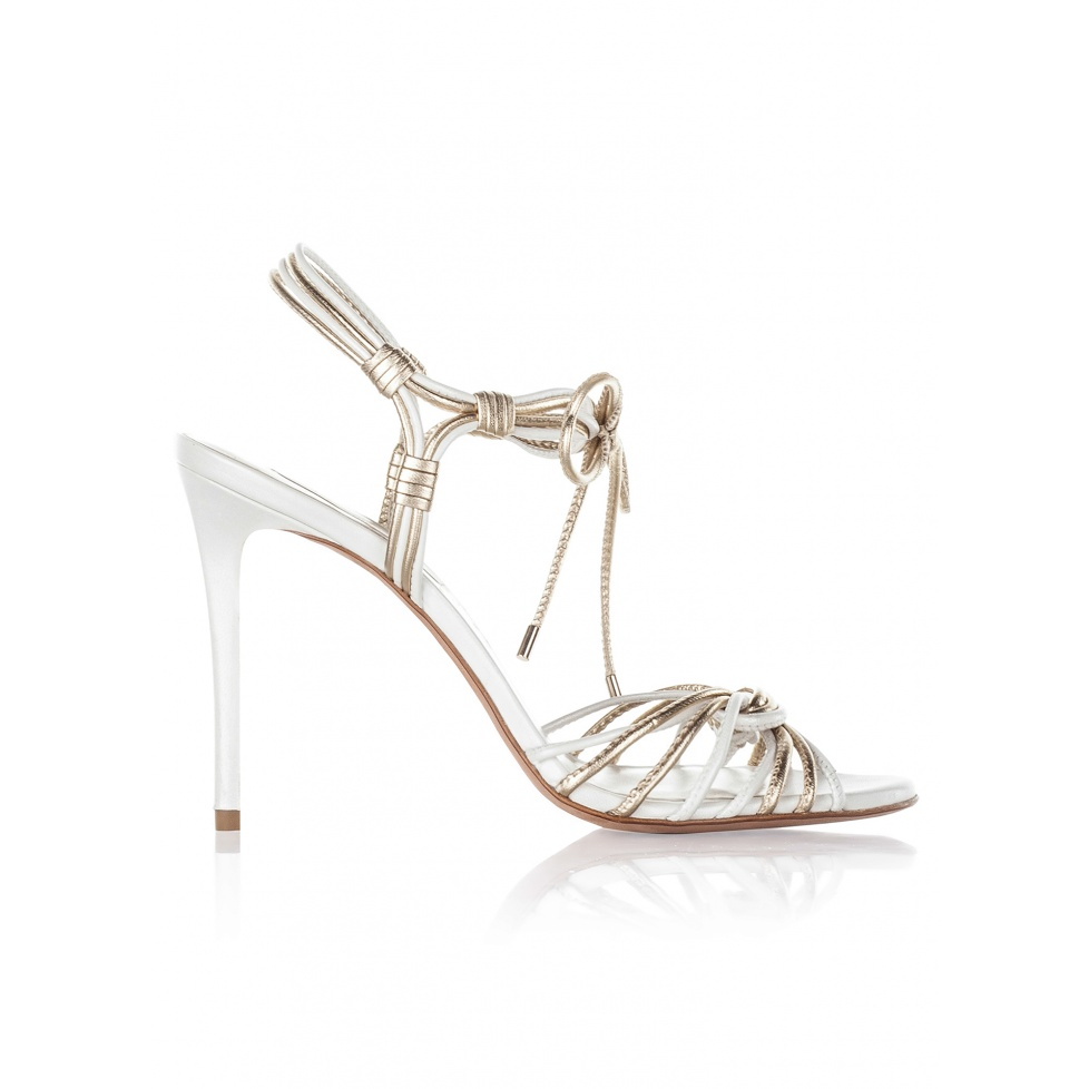 High heel bridal sandals in offwhite and gold leather
