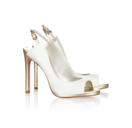High heel bridal peep toes in offwhite satin Pura López