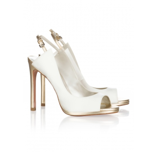 High heel bridal peep toes in offwhite satin Pura L�pez