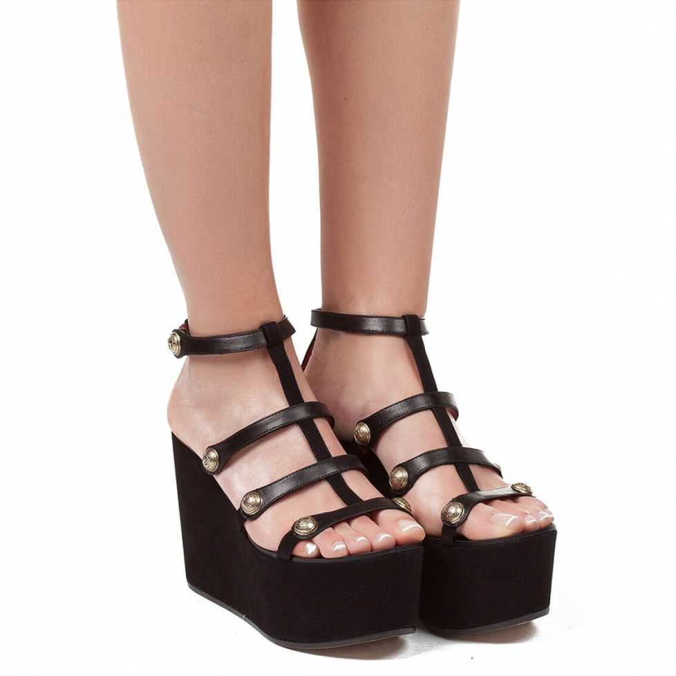 Wedge sandals in black suede - online shoe store Pura Lopez