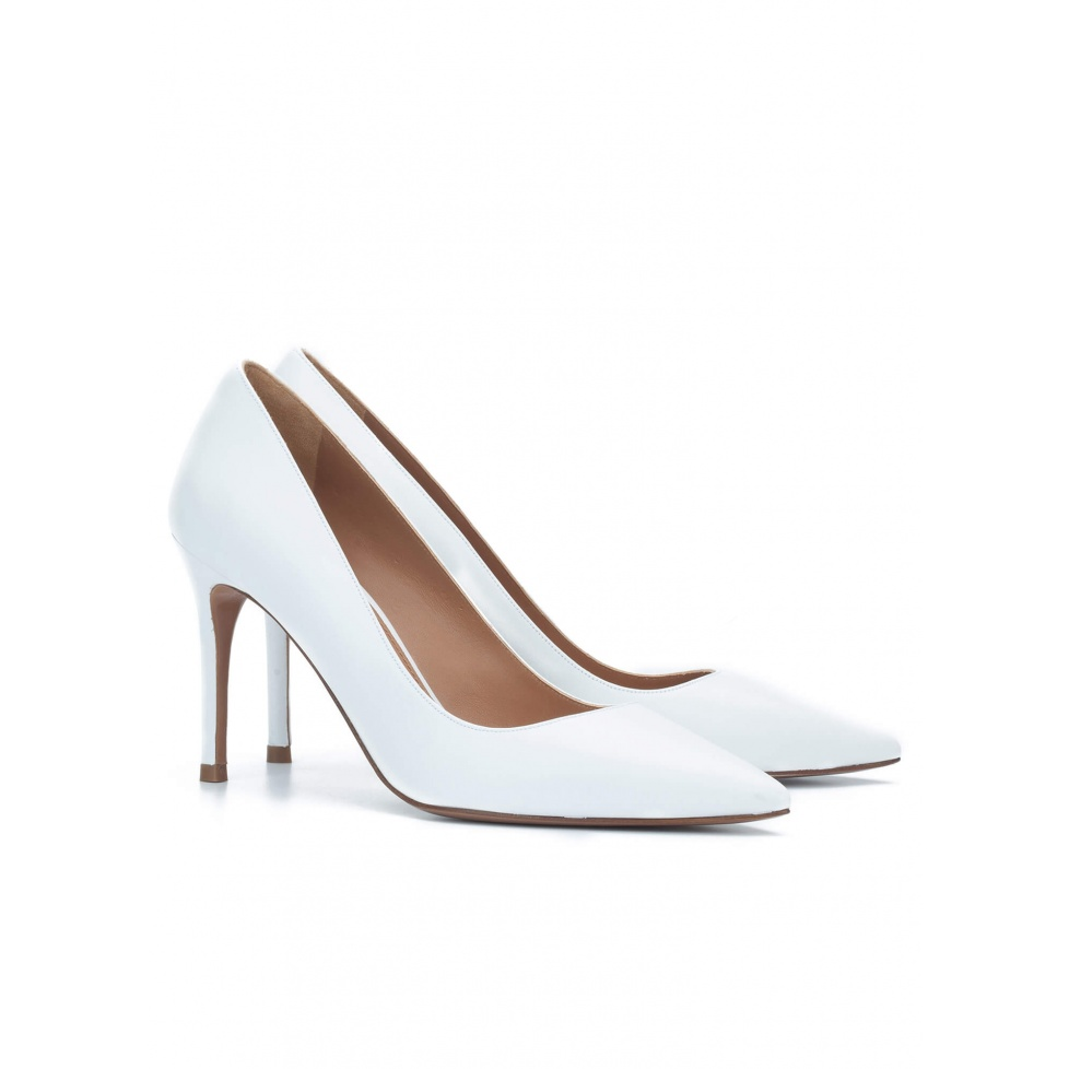 High heel pumps in white leather - online shoe store Pura Lopez