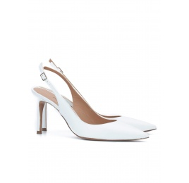 Slingback heeled pumps in white calf leather Pura López