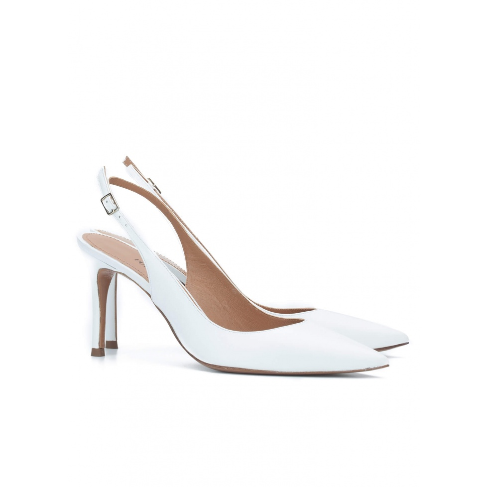 Slingback pumps in white leather - online shoe store Pura Lopez