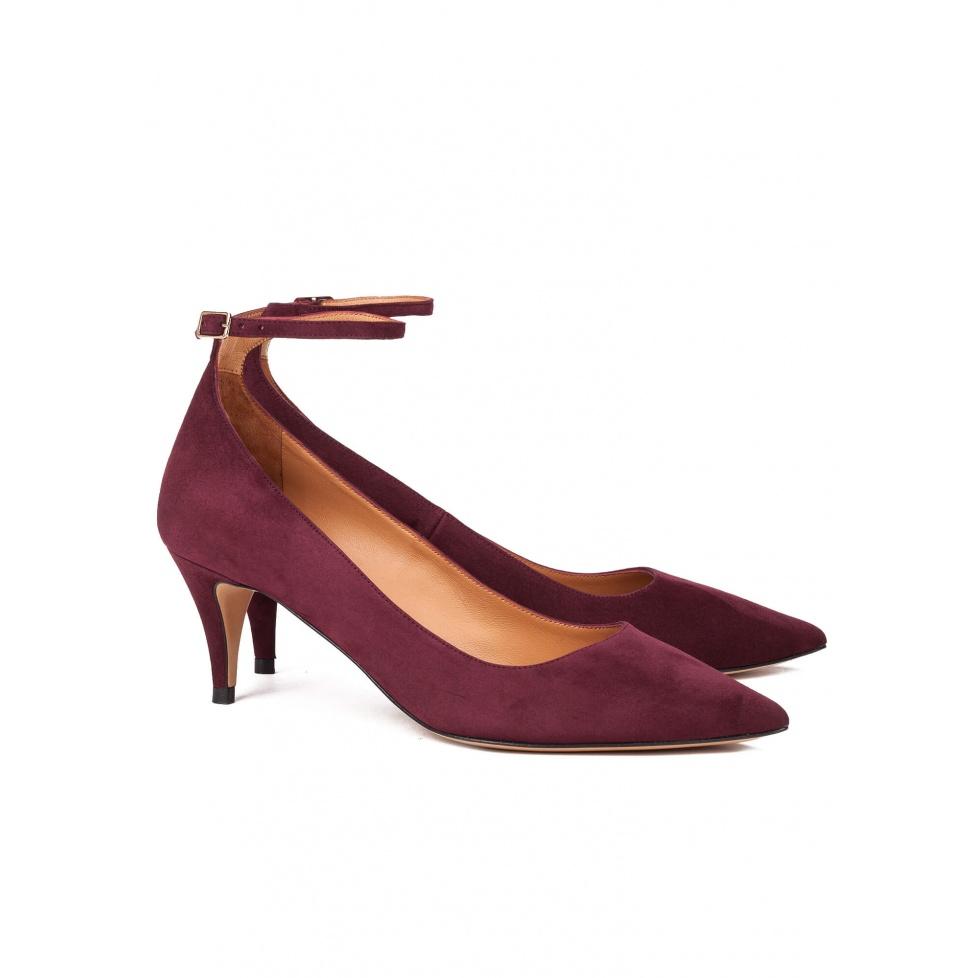 Burgundy ankle strap mid heel pumps - online shoe store Pura Lopez