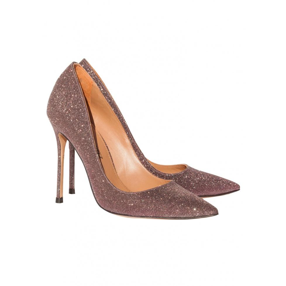 High heel pumps in wine glitter - online shoe store Pura Lopez