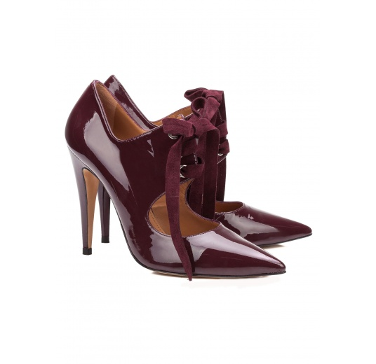 Lace-up high heel shoes in aubergine patent leather Pura López