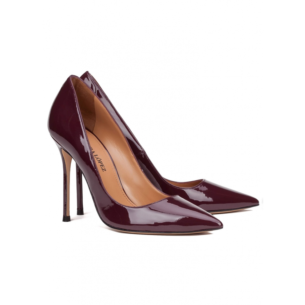 High heel pumps in aubergine patent - online shoe store Pura Lopez