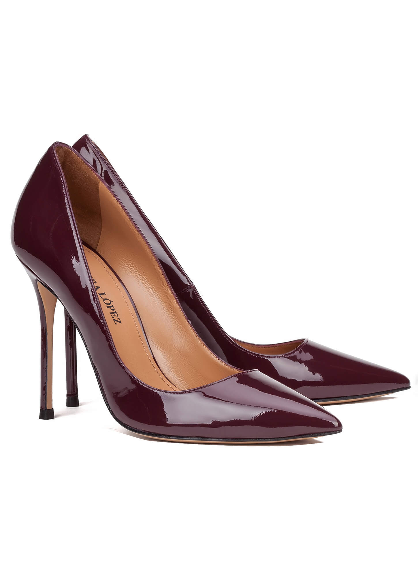 high heel pumps in aubergine patent online shoe store. Black Bedroom Furniture Sets. Home Design Ideas