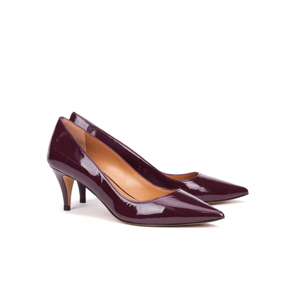 Zapatos de salón en charol berenjena - tienda de zapatos Pura López