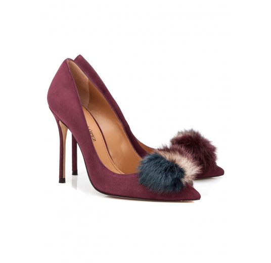 Pompom-embellished high heel pumps in aubergine suede Pura L�pez