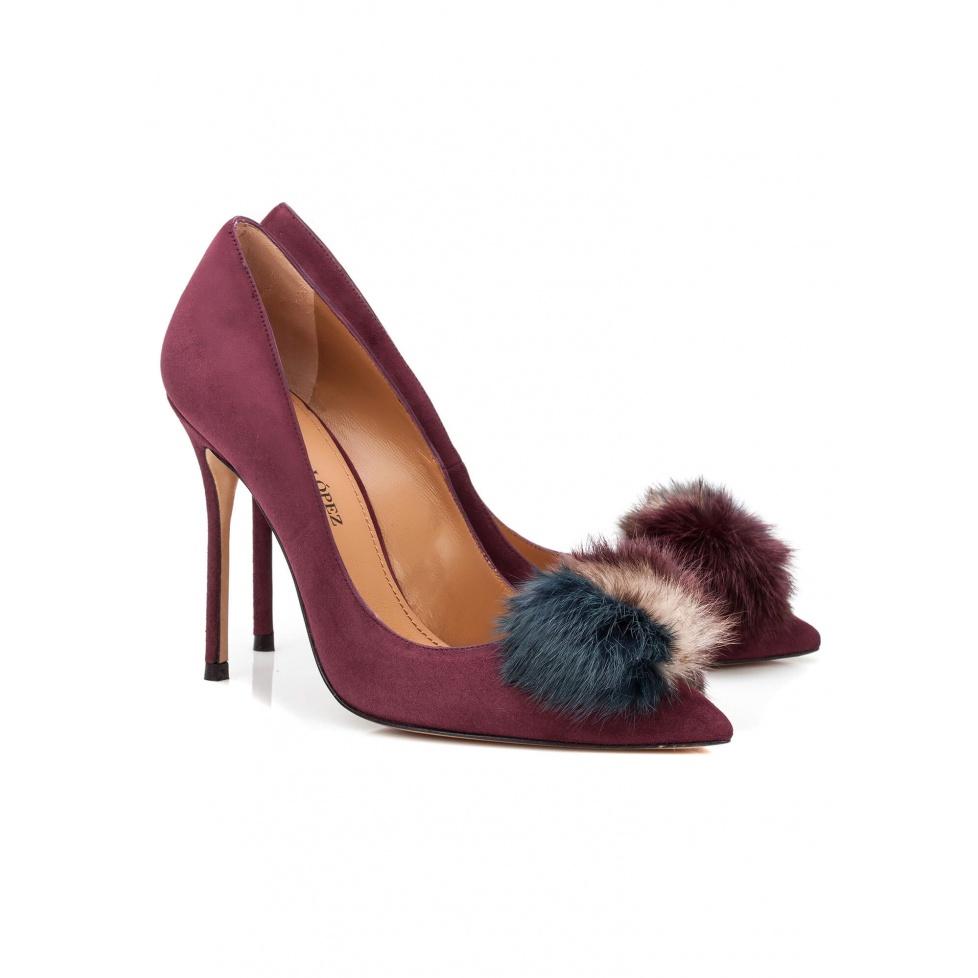 Aubergine pompom heeled pump - online shoe store Pura Lopez