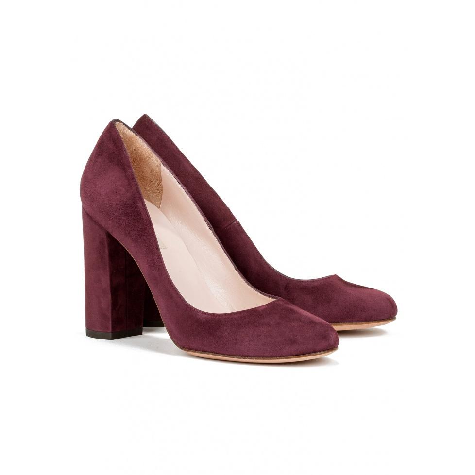 Block high heel pump in burgundy suede-online shoe store Pura Lopez