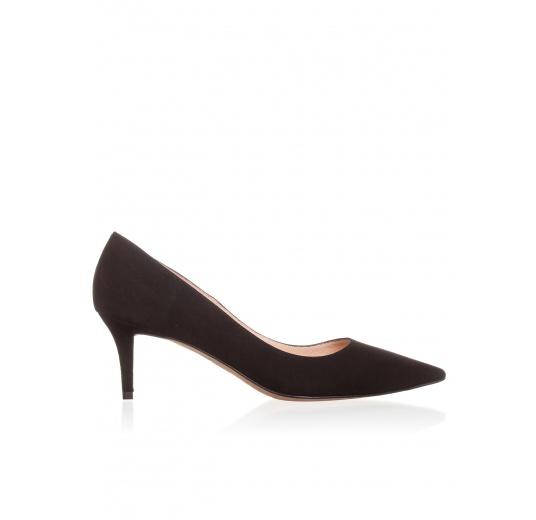 Mid heel pumps in black suede Pura L�pez