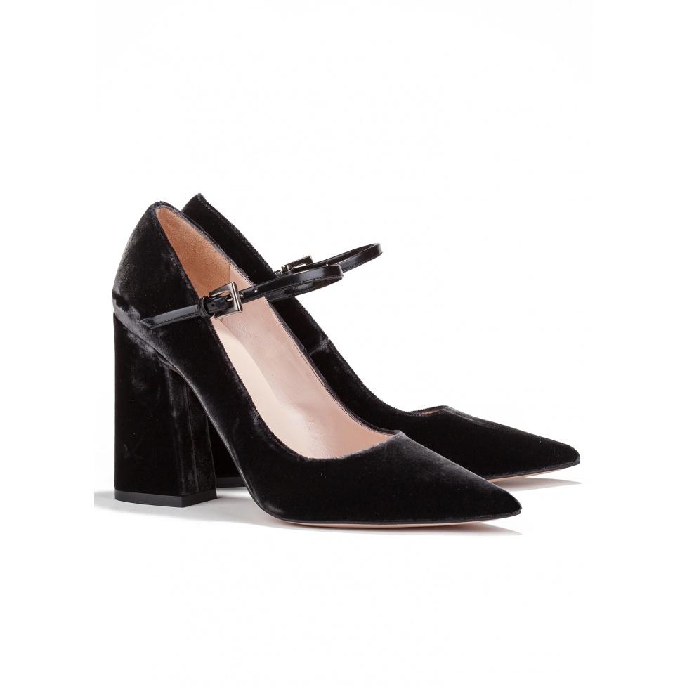 High block heel shoes in grey velvet - online shoe store Pura Lopez