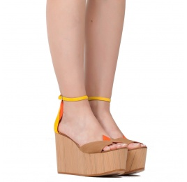 Wood wedge sandals in multicolored suede Pura López