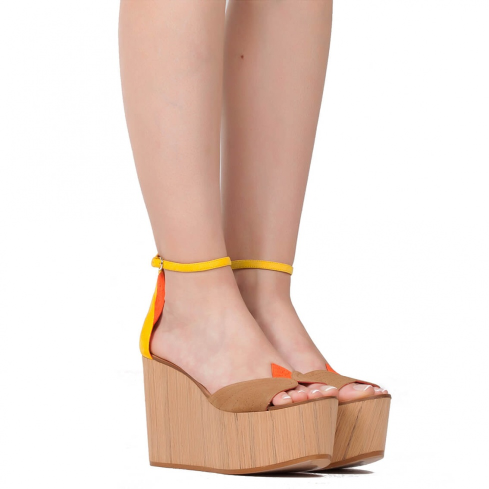 Multicolored wood wedge sandals - online shoe store Pura Lopez