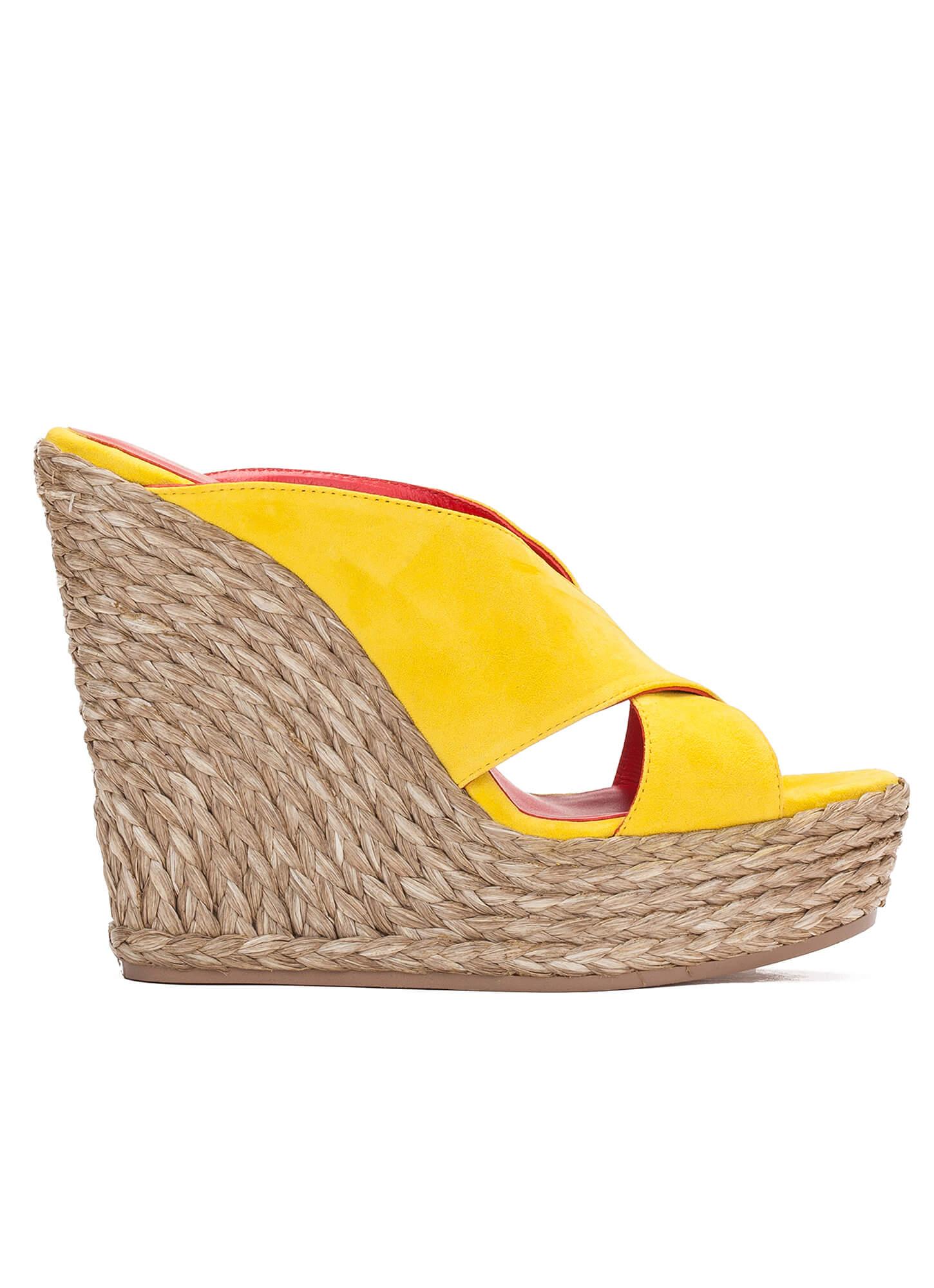 Sandalia de cu a en ante amarillo tienda de zapatos pura - Tiendas de cunas en madrid ...