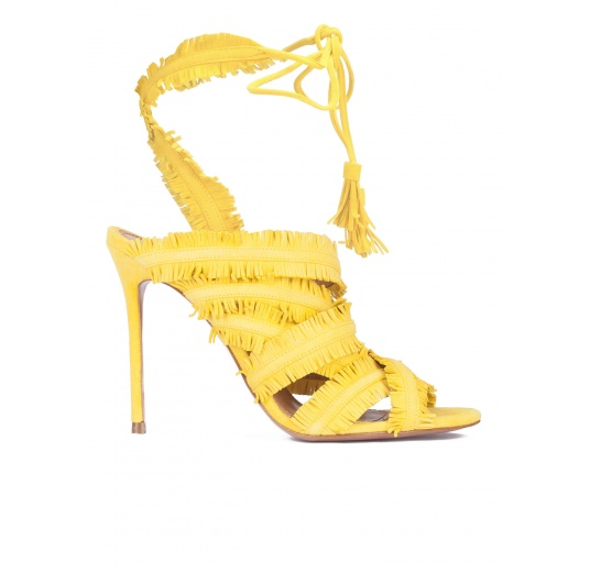 Yellow fringed high heel sandals Pura L�pez