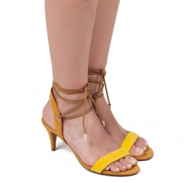 Lace-up mid heel sandals in two-tone suede Pura López