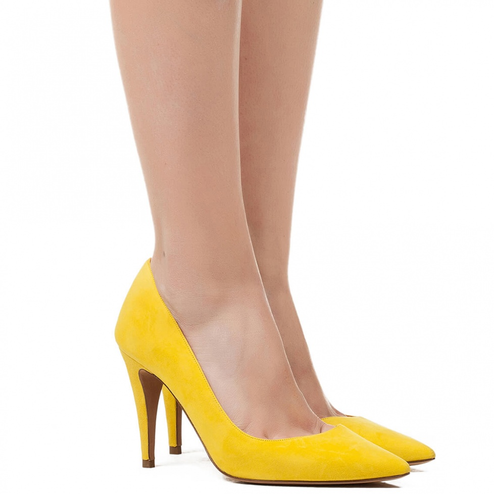 High heel pumps in yellow suede - online shoe store Pura Lopez