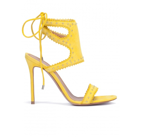 Lace-up heeled sandals in yellow suede Pura L�pez