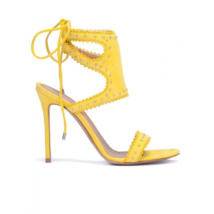 Lace-up heeled sandals in yellow suede