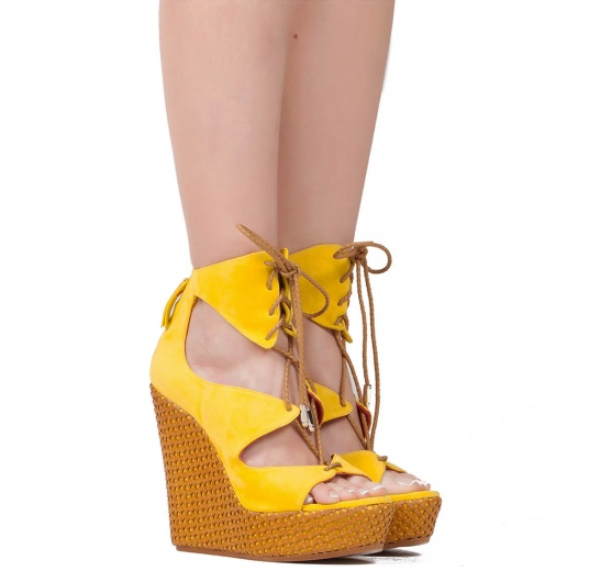 Lace-up wedge sandals in yellow suede Pura L�pez
