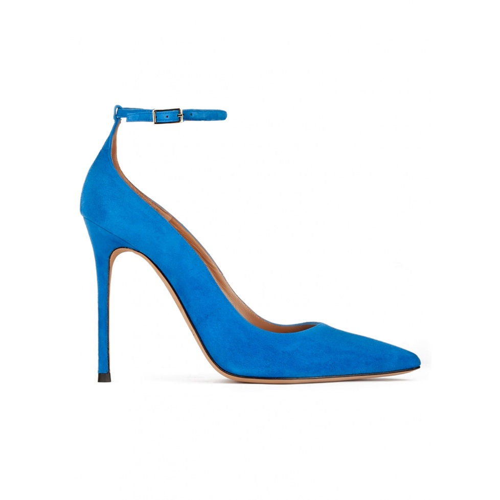 Royal blue suede ankle strap heeled point-toe shoes