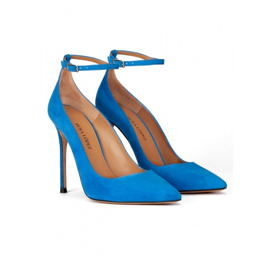 Royal blue suede ankle strap heeled point-toe shoes Pura López