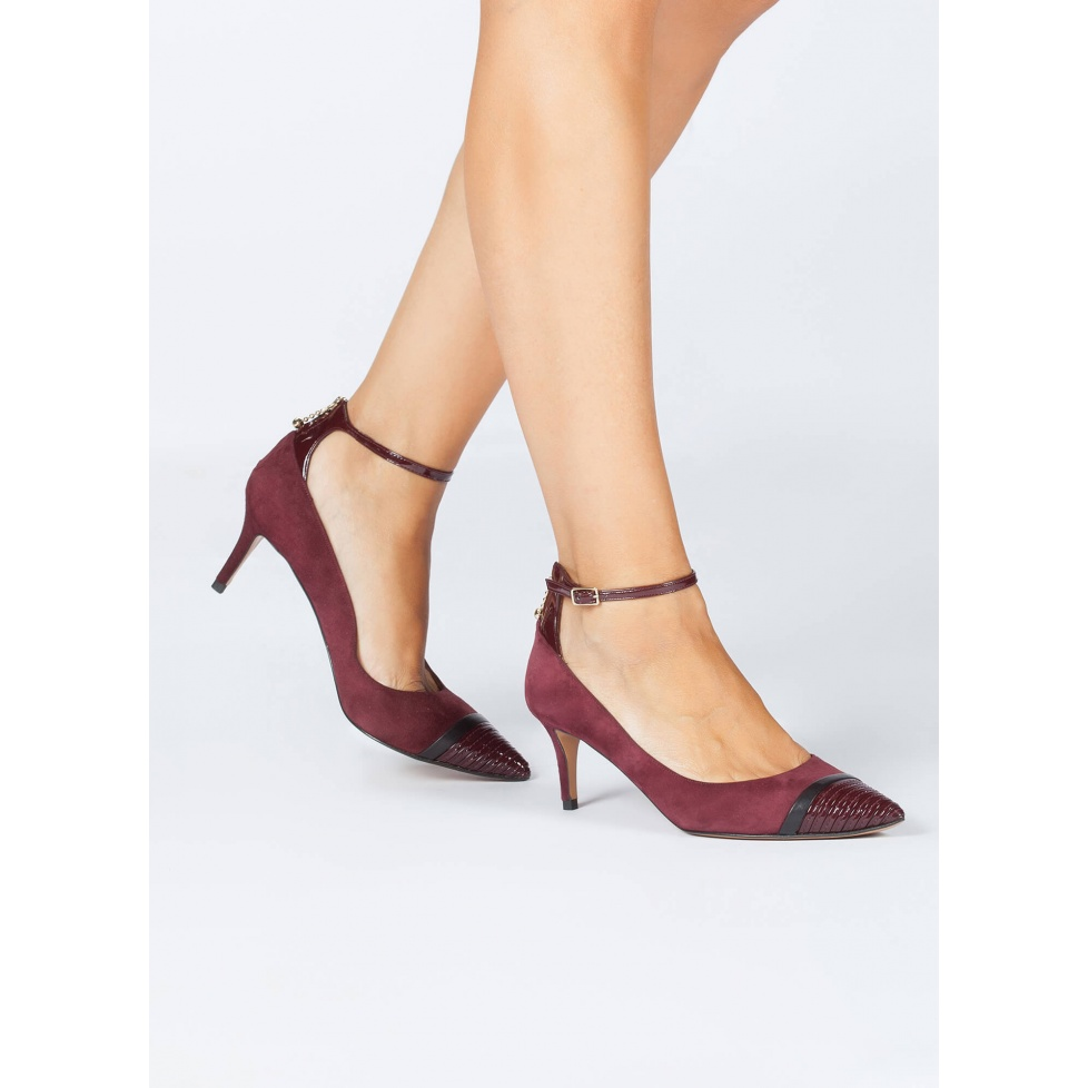 Ankle strap point-toe mid heel shoes in burgundy suede