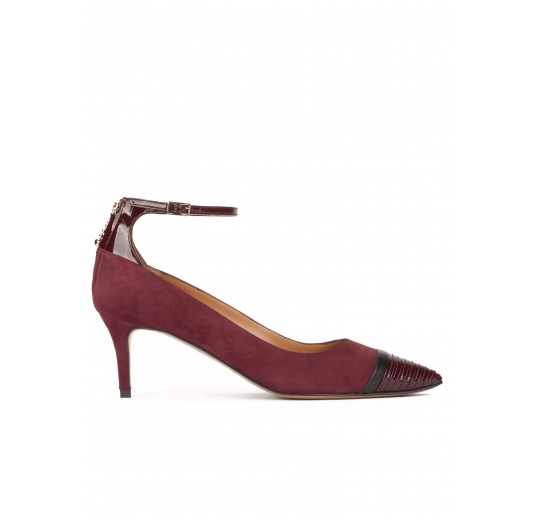Ankle strap pointy toe mid heel shoes in burgundy suede Pura L�pez