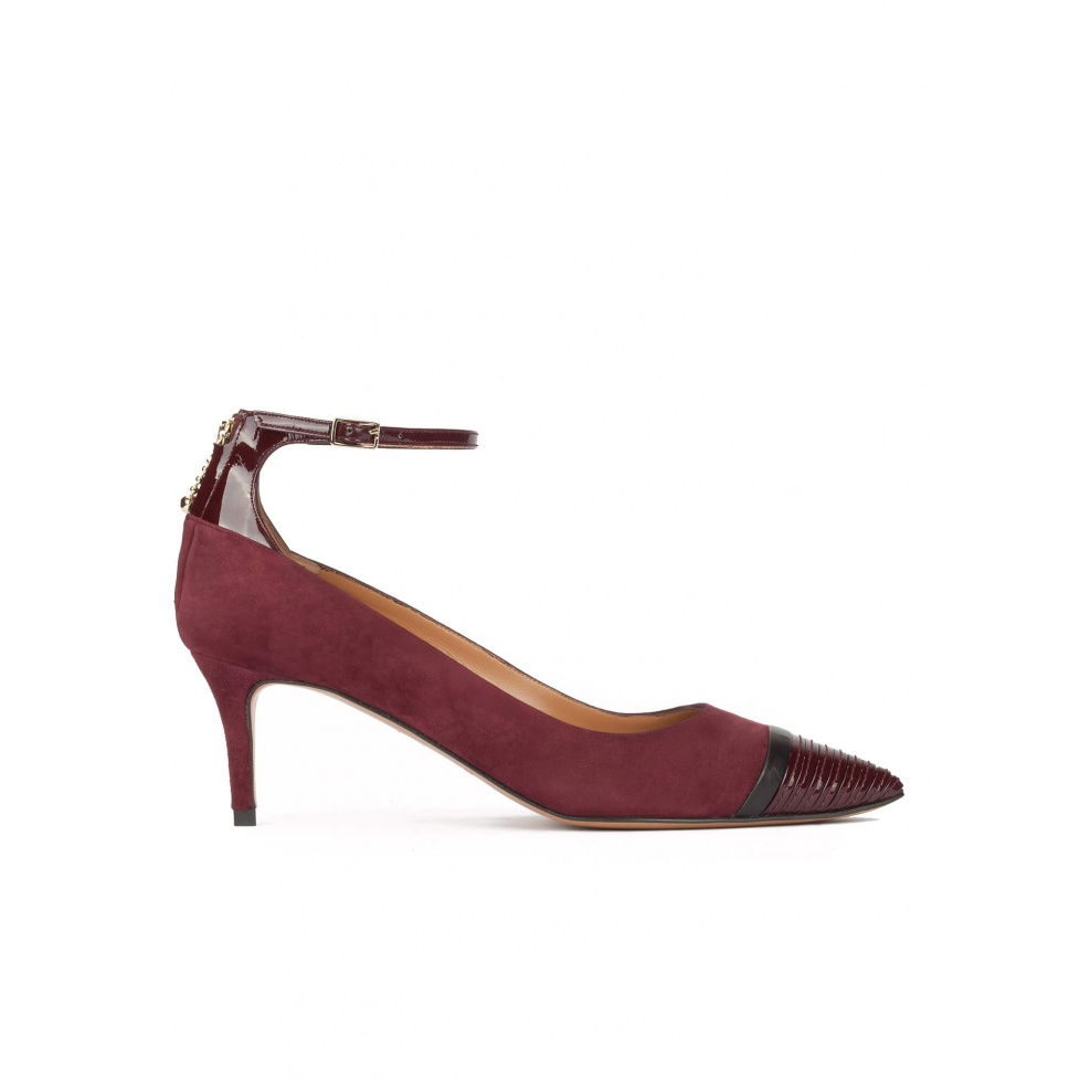 Ankle strap pointy toe mid heel shoes in burgundy suede