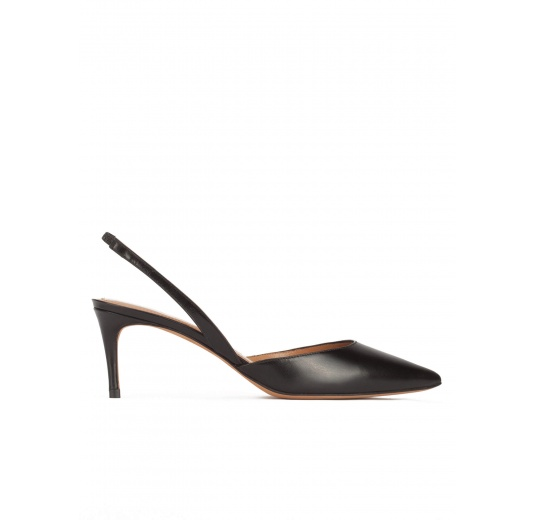 Mid heel slingback shoes in black leather Pura L�pez